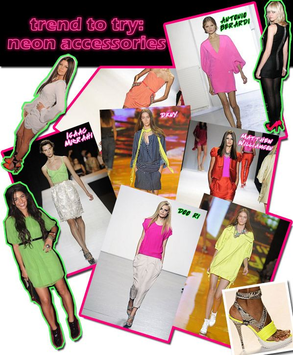 Trend to Try: Neon Accessories | a new mode :  neon accessories jimmy choo doo ri matthew williamson